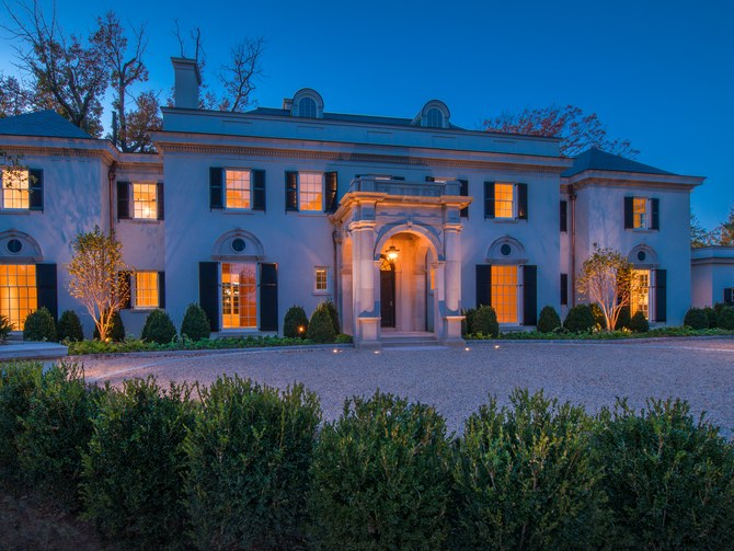 Washington DC luxury mansion Kalorama regency style limestone exterior landscape