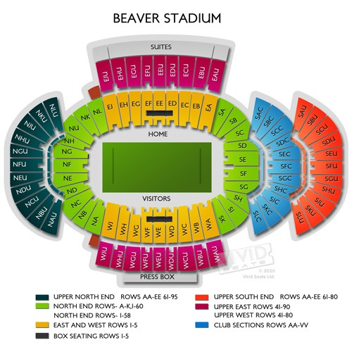 beaver stadium seating chart - Beaver Stadium Seating Chart Row & Seat Numbers TickPick
