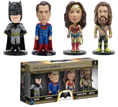 Batman v Superman: Dawn of Justice Mini Wacky Wobbler Bobble Head 4 Pack by Funko - Batman, Superman, Wonder Woman & Aquaman