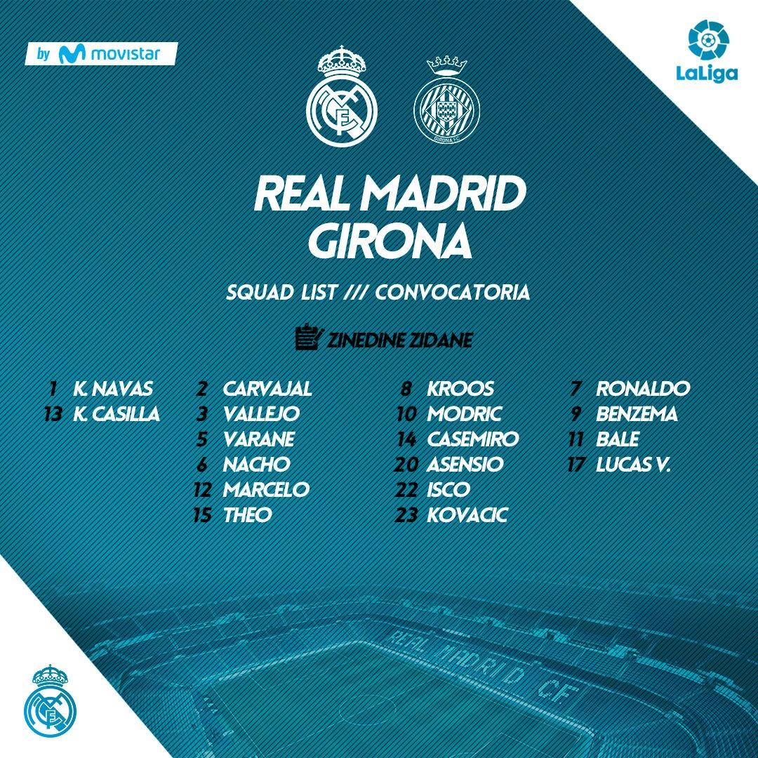 قائمة ريال مدريد المستدعاة لمواجهة جيرونا