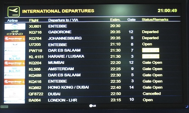 The Timetablist Nairobi Jomo Kenyatta Airport