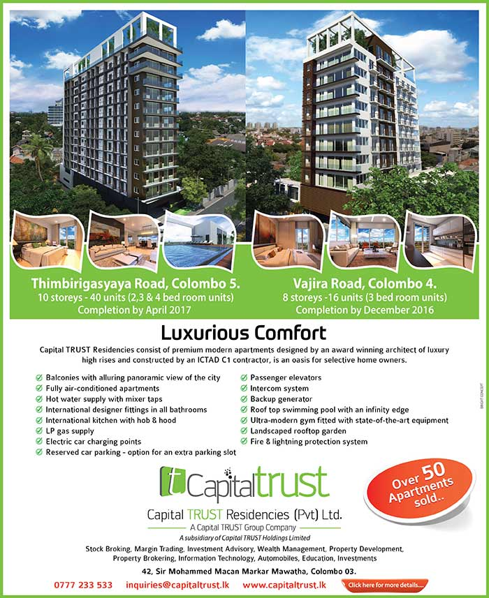 Capital Trust Residencies consist of premium modern apartments designed by an award winning archtect of luxury high rises and constructed by an ICTAD C1 contractor, is an oasis for silective home owners.