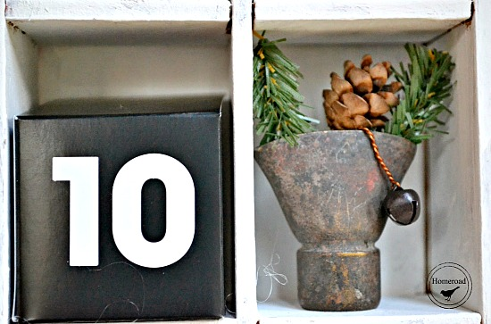 junky pieces in a DIY advent calendar