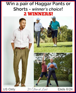 Enter the Haggar Pants or Shorts Giveaway. Ends 6/24