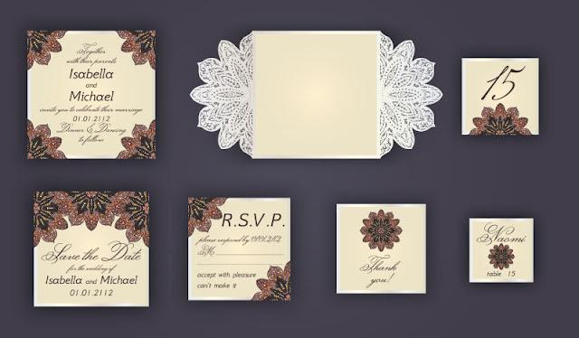 Vintage thiết kế thiệp mời đám cưới bao gồm thiệp mời vector màu vàng. free