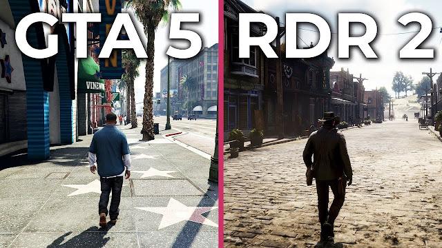 شاهد بالفيديو مقارنة شاملة لرسومات لعبة Red Dead Redemption 2 و GTA V ، من تفوق في نظركم ؟ لنشاهد ..