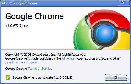 Google Chrome 11.0.672.2 dev