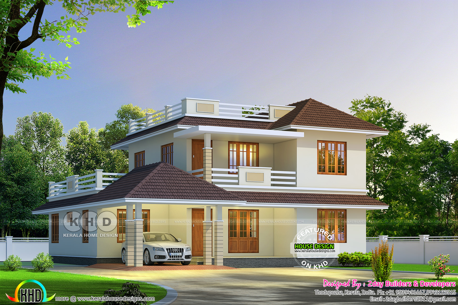 Cute sloping roof house 2680 square feet kerala home for Home plas