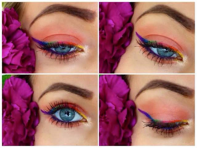 Łososiowy Makeup z tęczową kreska