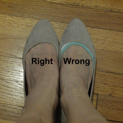 A foot in a shoe with no socks showing, labeled 'right', and another foot in a shoe with the edges of a sock showing, labeled 'wrong'