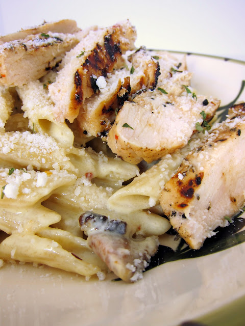 Chicken Bacon Pasta - grilled chicken and bacon served over a creamy cheese sauce - The BEST pasta I have ever had. Seriously better than you'll find in any restaurant. You can make the chicken ahead and reheat it.
