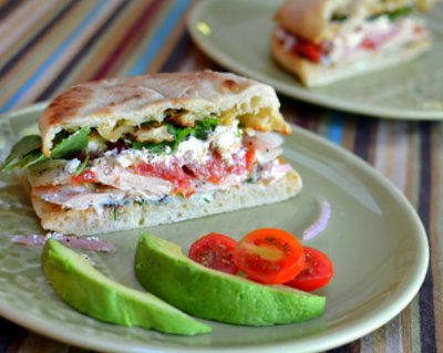 Greek Chicken Dagwood Sandwiches ♥ KitchenParade.com, sandwich fixins with a Greek twist.