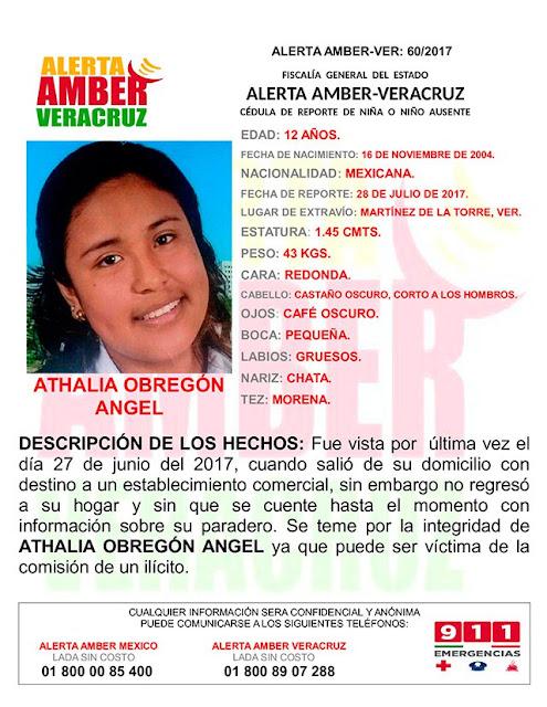 Activan Alerta Amber para Athalia Obregón Angel en Martinez de la Torre