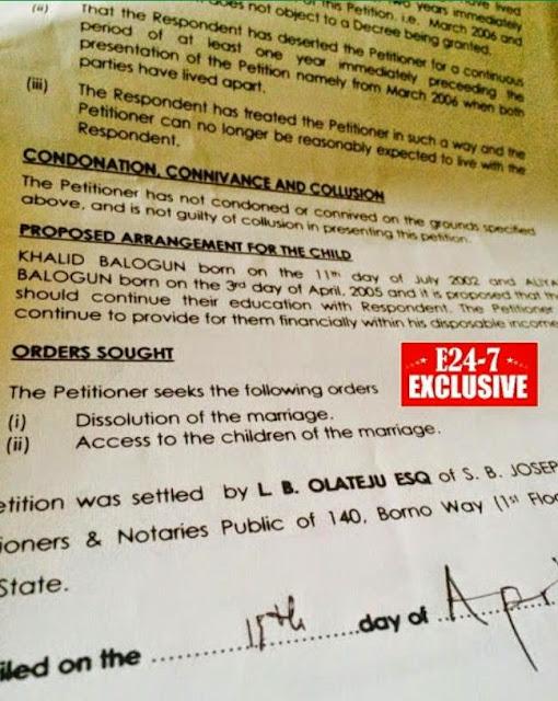 fathia saidi balogun divorce papers
