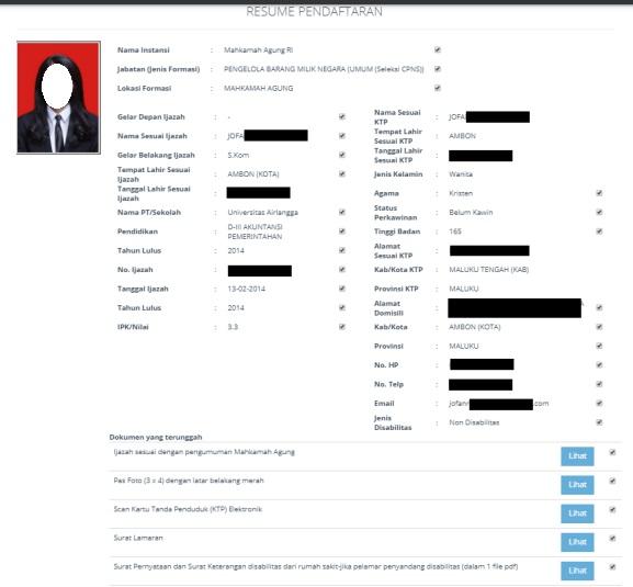 gambar resume pendaftaran cpns 2019
