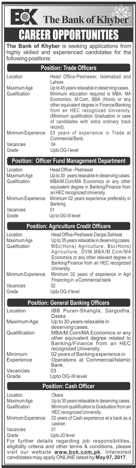 Trade Officer Jobs in The Bank Of Khyber bok.com.pk  23 April 2017