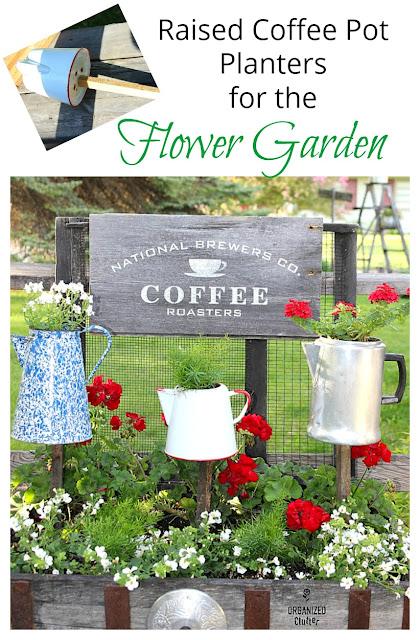Junk Garden Coffee Themed Decor  #signs #gardensign #oldsignstencils #stencil #coffeepots #junkgarden #gardenjunk #containergarden #gardendecor