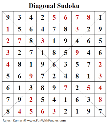 Answer of Diagonal Sudoku Puzzle (Fun With Sudoku #321)