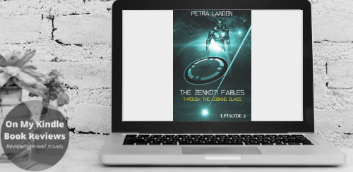Computer display mockup featuring the front cover for THROUGH THE LOOKING GLASS (THE ZENKOTI FABLES, EPISODE 2) by Petra Landon