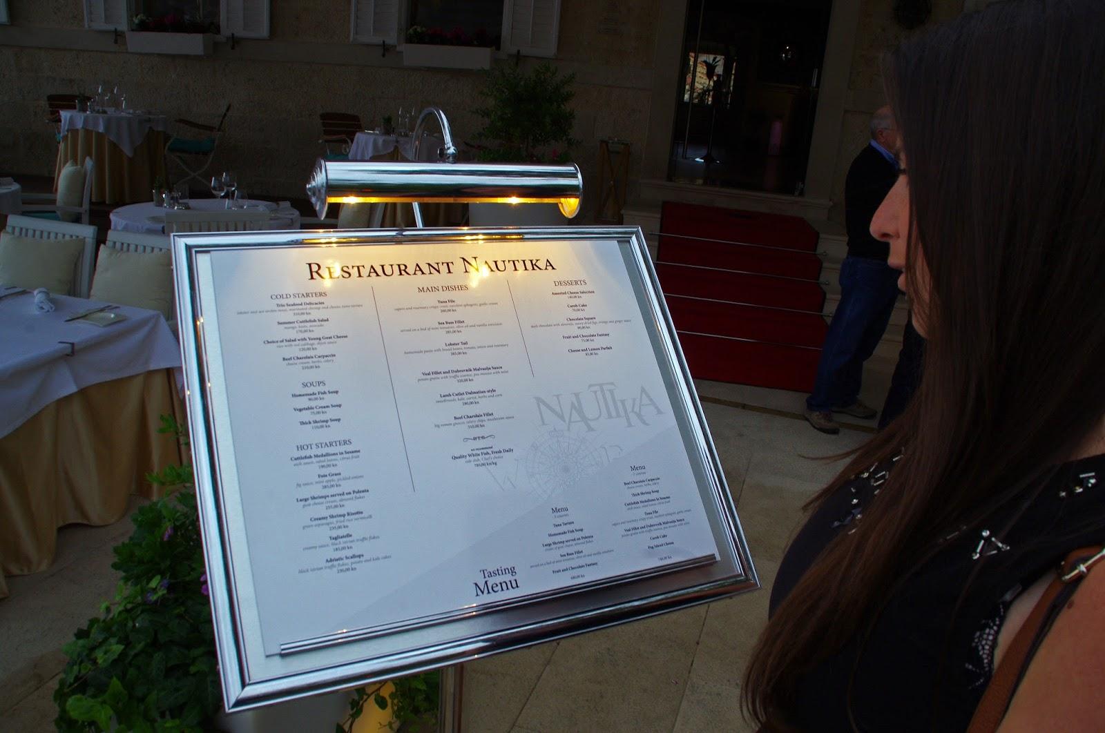 Looking at menu for Nautika Restaurant Dubrovnik