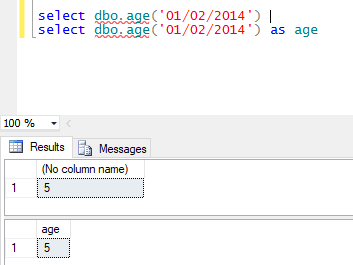 execute function in sql with multiple parameters