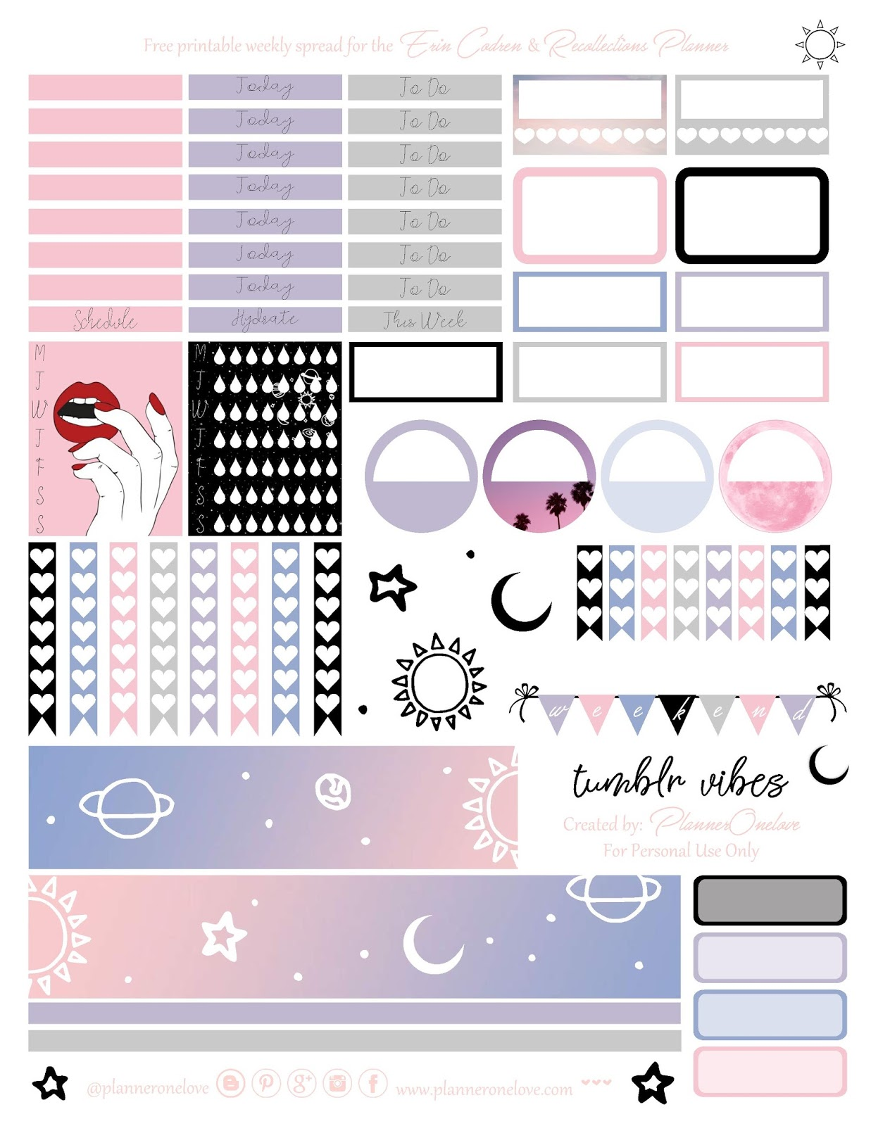 photograph relating to Tumblr Stickers Printable referred to as free of charge tumblr vibes printable planner stickers for the Erin