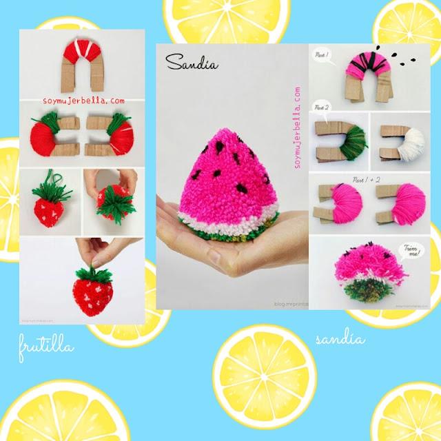 Cómo hacer pompones frutales