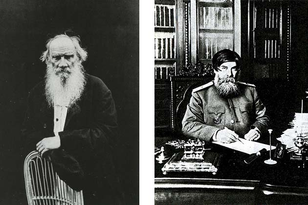 Left: Leo Tolstoy, 1902. Right: Vladimir Bekhterev