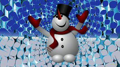 Moderne Kerst wallpaper met sneeuwpop met sterren