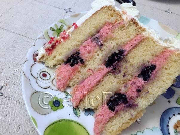 Birthday Cake with Blackberry Mascarpone Filling