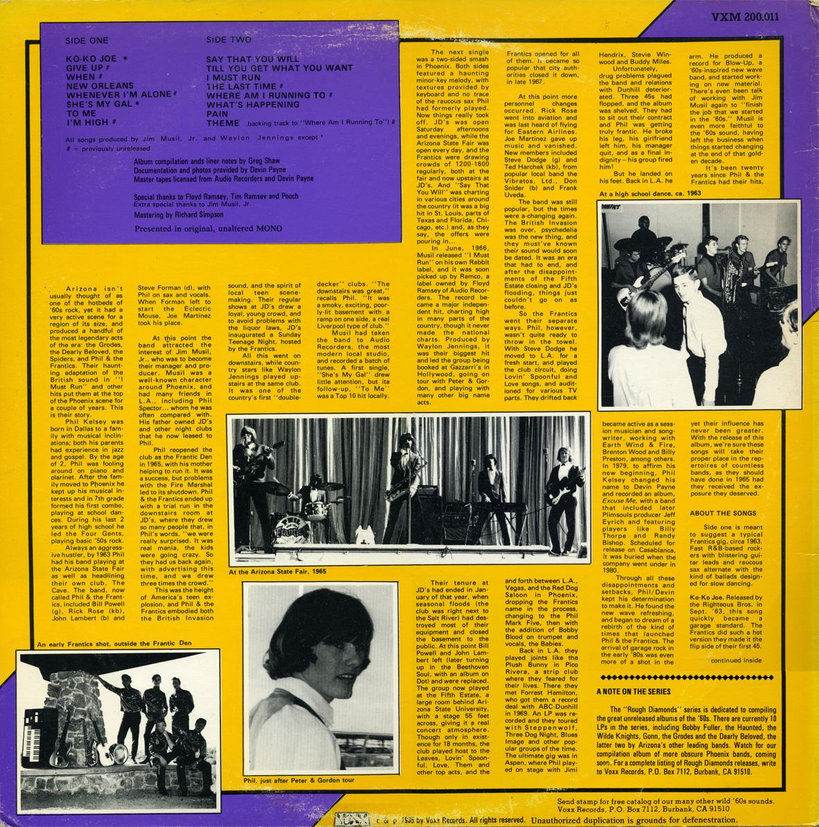 Music Archive: Phil & The Frantics - Rough Diamonds (1964-66)