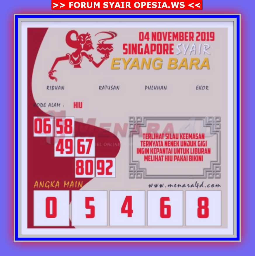 Kode syair Singapore Senin 4 November 2019 106