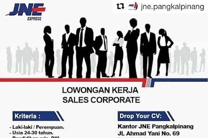Info Lowongan Kerja JNE Sales Pangkalpinang