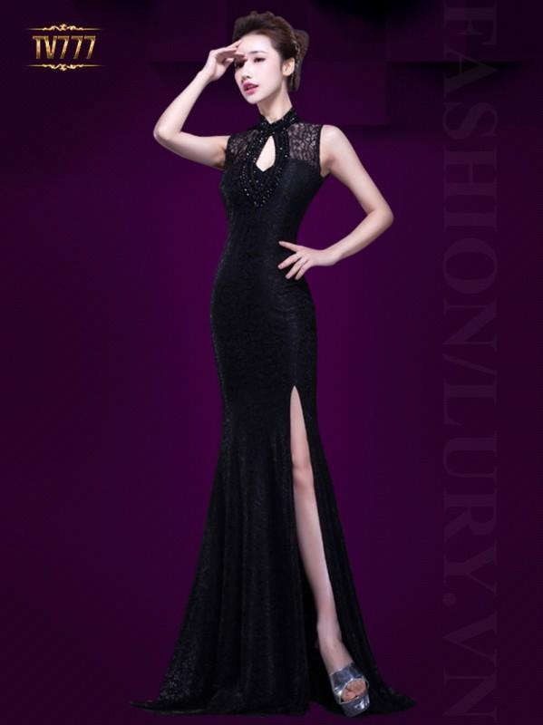 Váy đầm cao cấp tuổi trung niên màu đen huyền bí ,lôi cuốn