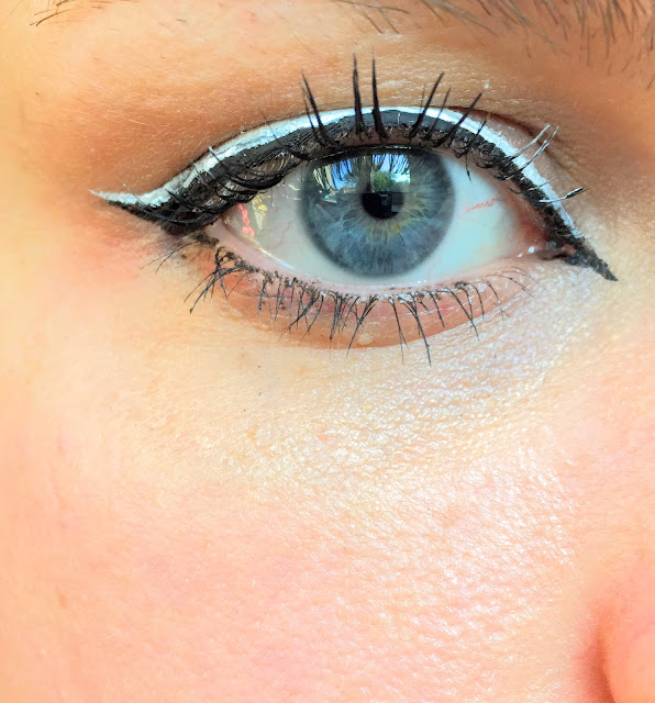 Graphic monochrome liner featuring maybelline master ink hippie sixties