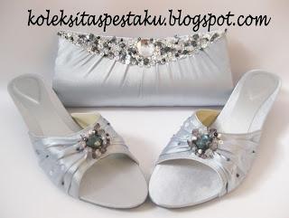 Tas Pesta dan Clutch Bag Silver Mewah Elegant