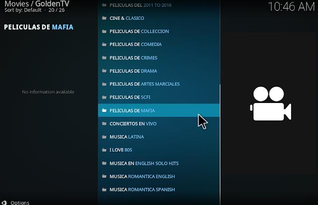 Hundreds Spanish IPTV channels working on Golden Iptv kodi addon