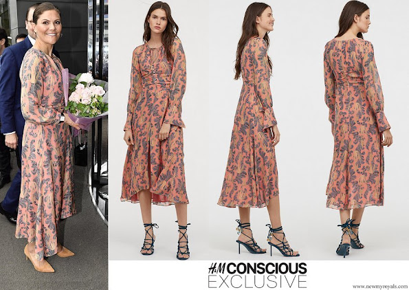 Crown Princess Victoria wore H&M print silk dress H&M Conscious Exclusive