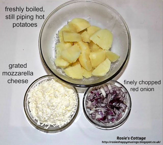 Grated Mozzarella Cheese Boiled Potatoes Finely Chopped Red Onion