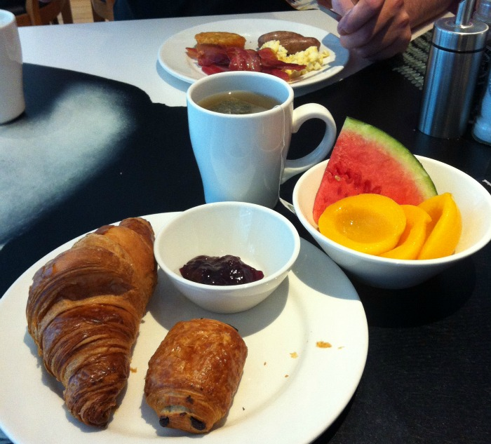 Pastries and fruit for breakfast