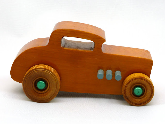Right Side - Wooden Toy Car - Hot Rod Freaky Ford - 32 Deuce Coupe - Pine - Amber Shellac - Metallic Green - Gray