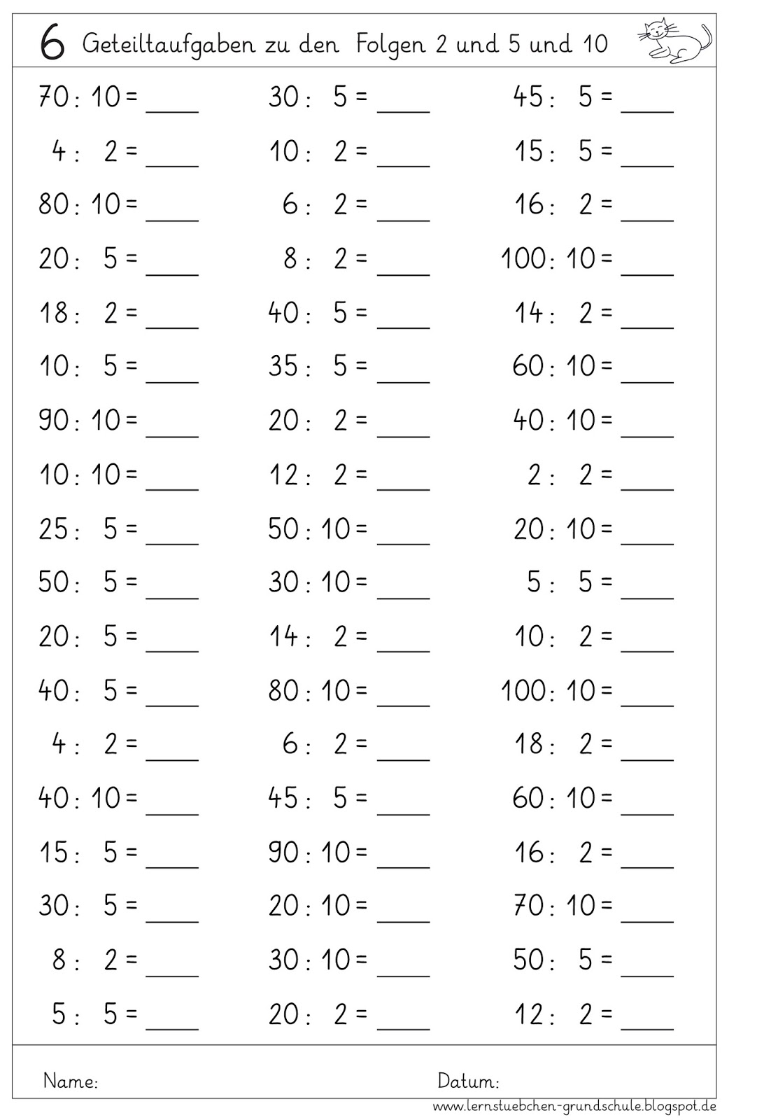 lernst252bchen kopfrechenbl228tter einmaleins multiplizieren
