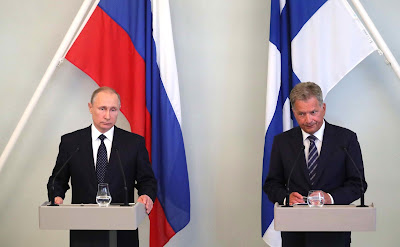 Vladimir Putin and Sauli Niinisto gave a joint news conference following bilateral talks.