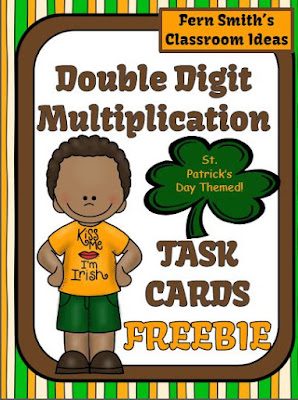 FREE Fern Smith's Classroom Ideas Two Digit By Two Digit Multiplication St. Patrick's Day Task Cards
