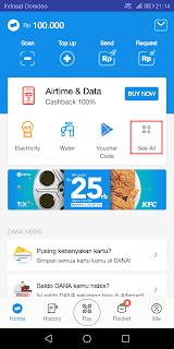 tampilan antarmuka aplikasi dana didominasi warna biru