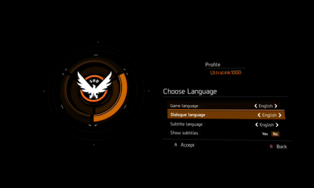 Tom Clancy's The Division language options profile setup English