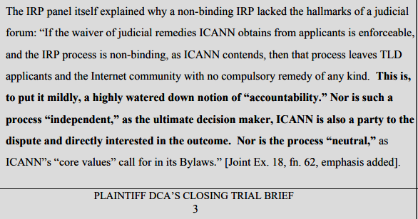 DCA Trust v. IANN et al, Plaintifff's Judicial Estoppel Post-Trial Brief (pdf)