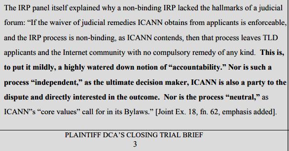 DCA Trust v. IANN et al, Plaintifff's Judicial Estoppel Post-Trial Brief (pdf)