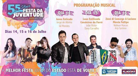 Confira a programação oficial da 55ª da  Festa da Juventude em Santana do Ipanema