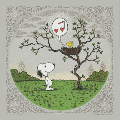 "Peanuts ""Woodstock's Song of Love"" Grey Clouds Edition Screen Print by Marq Spusta"